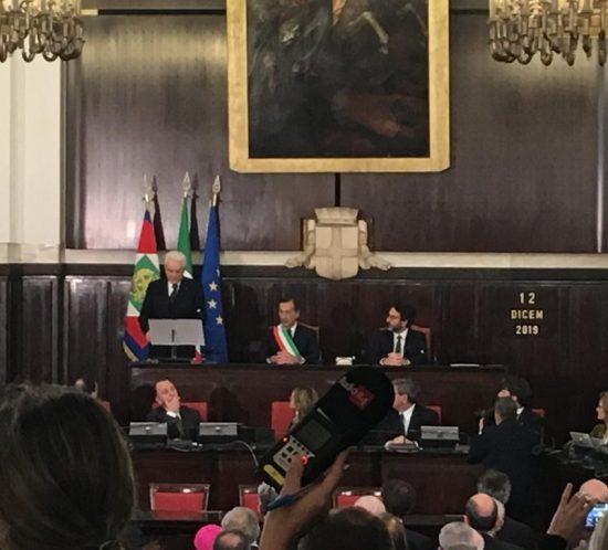 Il Presidente della Repubblica Sergio Mattarella nel suo intervento a Palazzo Marino
